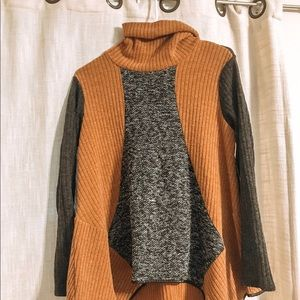 Roolee Brown and Gray Color block Turtleneck